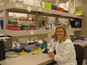 Dr. Laura Brown conducts research at her lab at the CU Anschutz Medical Campus. She is studying the links between low birth weight babies and later-life health problems.